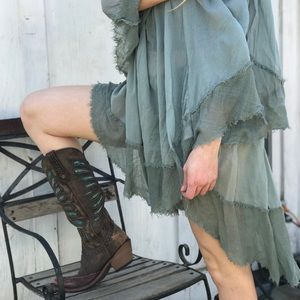 Free people off shoulder green cotton gypsy dress